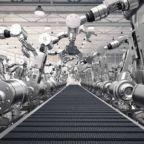3d rendering robotic arms with empty conveyor belt; Shutterstock ID 516050707